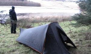 Wild camping at Whiteadder Reservoir, Scotland.