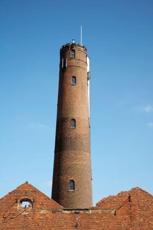B0KPN1 Chester Shot Tower in Chester Cheshire UK. Image shot 2008. Exact date unknown.buildingchestershottowerlistedchimneystairsarchitecturebuildingsregenerationleadworkswalkerparker