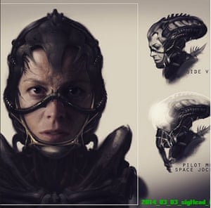 One of Neill Blomkamp's sketches of Sigourney Weaver in an Alien sequel.