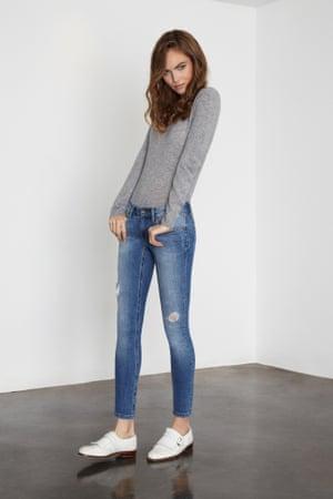 Donna Aida Coachella jeans – a subtle rip.