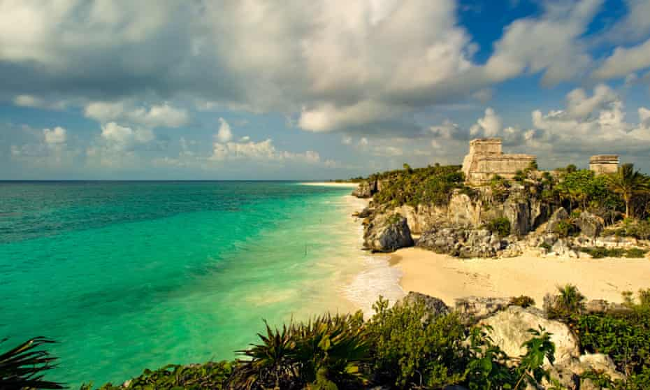 The main temple at the ancient Mayan city at Tulum on the Gulf of Mexico.