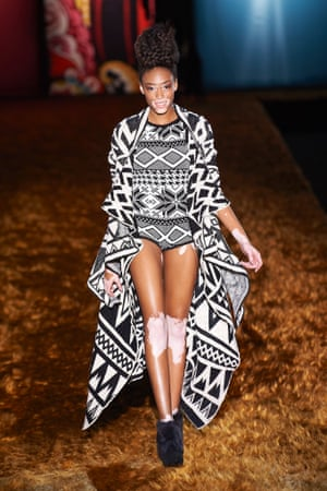 Catwalk queen: Chantelle Winnie wearing Desigual at Madrid Fashion Week earlier this month.