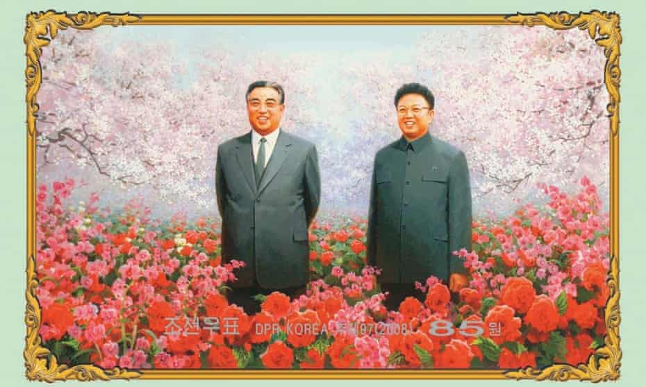 A stamp showing Kim Il-sung, the founder of North Korea, and his son Kim Jong-il in a field of Kimjongilias, a kind of begonia named after the leader.