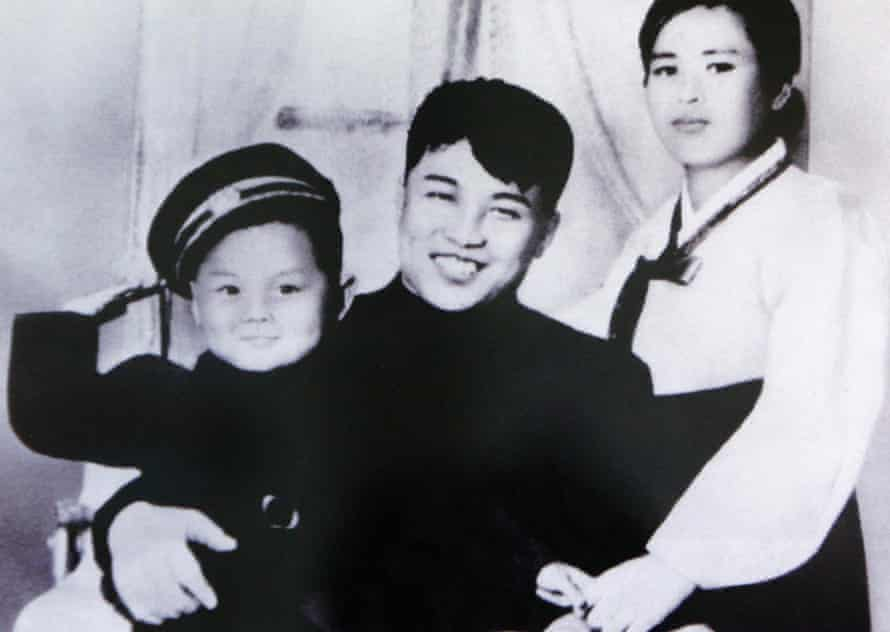 Undated official photo of Kim Il-sung, his first wife, Kim Jong-suk, and his son Kim Jong-il.