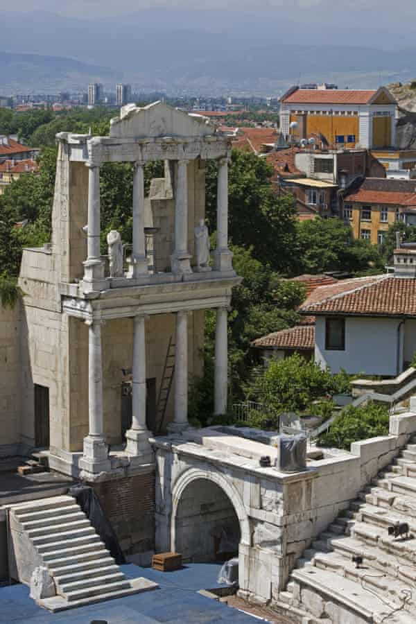 The ancient Roman theatre (built sometime between AD114-117) in Plovdiv, Bulgaria.