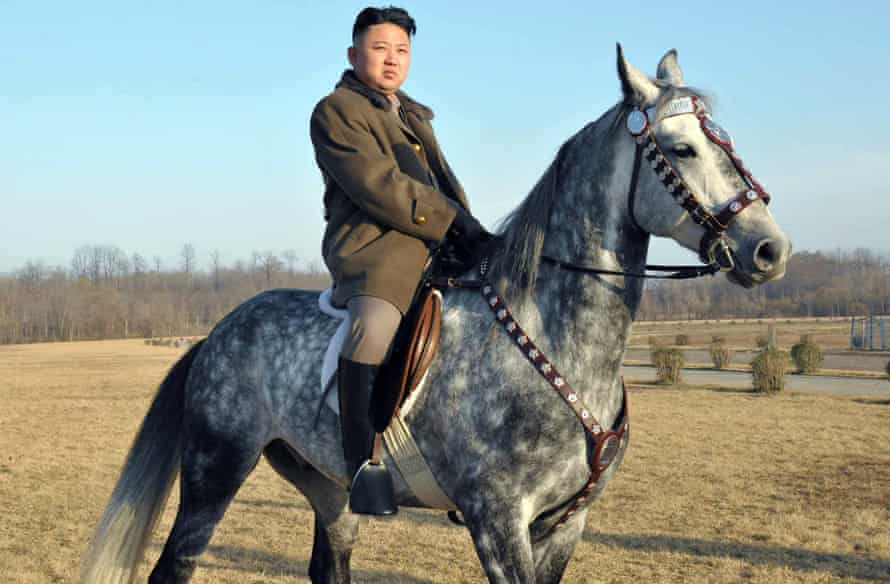 Undated picture, released by the official Korean Central News Agency, shows Kim Jong-un riding a horse.