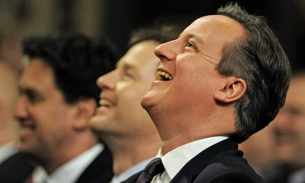 British Prime Minister David Cameron (R) Deputy PM Nick Clegg (C) and opposition leader Ed Milliband (L) share a light hearted moment during German Chancellor Angela Merkel's address to both Houses in the Royal Gallery at the Houses of Parliament, London, Britain 27 February 2014.