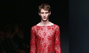 Gucci model in unisex look