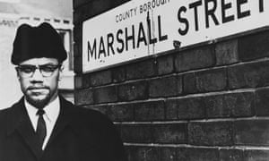 Civil rights activist Malcolm X on Marshall Street in Smethwick, near Birmingham, a few weeks before he was shot.
