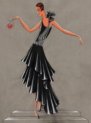 Lanvin black dress sketch