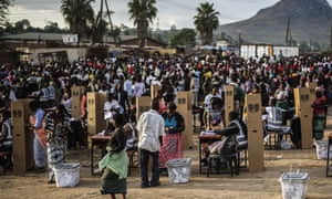 Residents of the Ndirande township  in Blantyre, Malawi, queue to vote last May