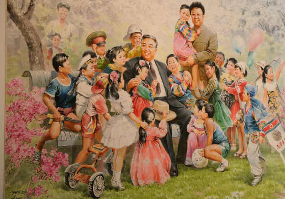 Painting featuring Kim Jong-il and Kim Il-sung.