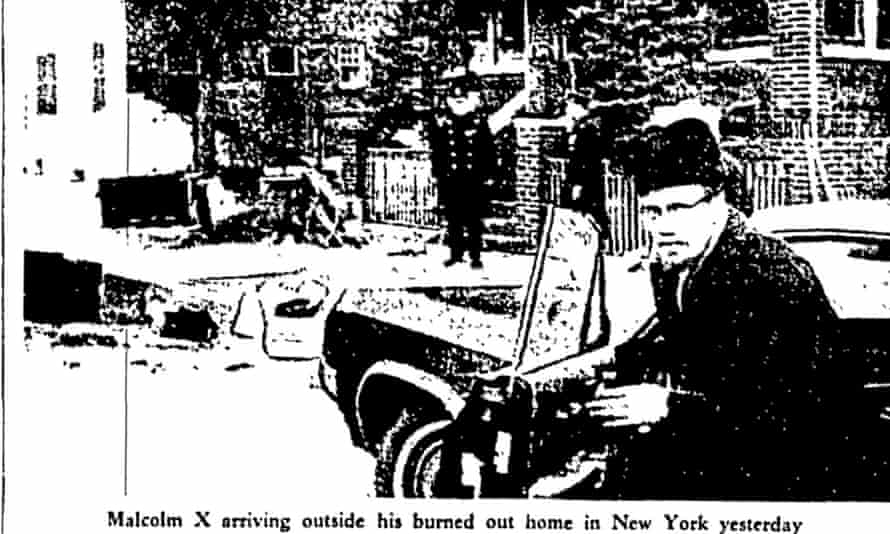 Malcolm X survives firebombing of home, Guardian 15 February 1965