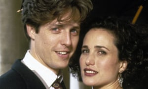 It's all in the voice: Hugh Grant works his British magic on American Andi MacDowell in Four Weddings and a Funeral.