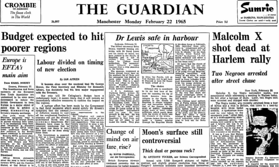 Malcolm X shot dead, Guardian front page 22 February 1965