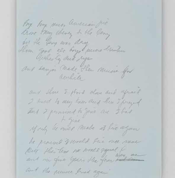 The original manuscript written by Don McLean for his hit American Pie, set to be auctioned at Christie's in New York