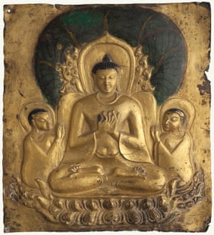Plaque with image of seated Buddha