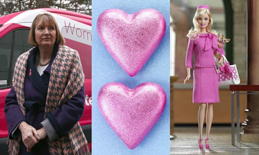 harriet harman with pink van, pink hearts, pink barbie