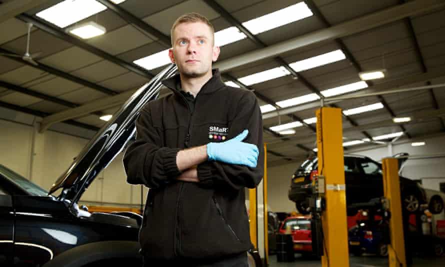 Dan Stears working at Salford's Smart garage.