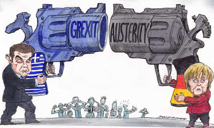 Cartoon by David Simonds showing standoff between Greek and German leaders