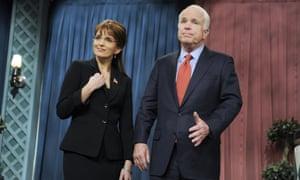Tina Fey as Sarah Palin with Senator John McCain on Saturday Night Live.