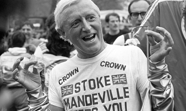 Jimmy Savile wearing a Stoke Mandeville T-shirt after running a marathon in aid of the hospital. Photograph: PA