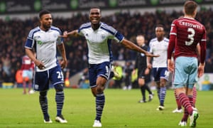 Brown Ideye celebrates his second goal for West Brom against West Ham.
