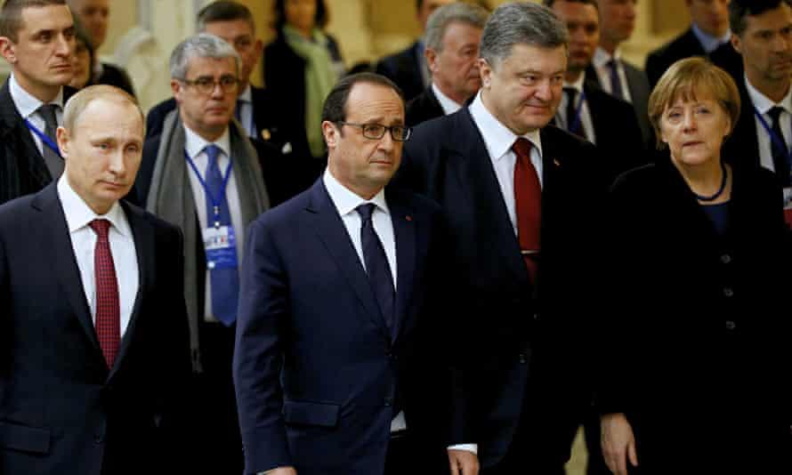 From left, foreground, Russian president Vladimir Putin, French president Francois Hollande, Ukraini