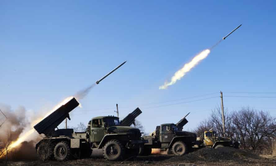 Pro-Russia rebels fire Grad rockets on Ukrainian positions in Debaltseve, Ukraine.