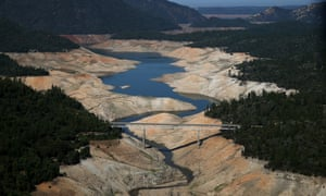 A section of Lake Oroville in California is seen nearly dry on August 19, 2014 in Oroville, California.  Global warming will only intensify North American droughts further.