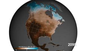 Soil moisture 30 cm below ground projected through 2100 for scenario RCP 8.5, which involves business-as-usual high levels of carbon pollution. Brown is drier and blue is wetter than the 20th century average. Source: NASA's Goddard Space Flight Center