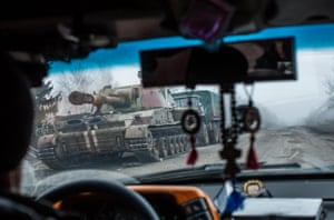 The machinery of war: a Ukrainian self-propelled gun being moved near Debaltseve, a city that rebels have been trying to seize from government troops.
