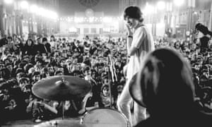 The Rolling Stones performing at the All Night Rave in 1967.