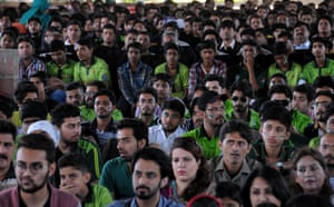Pakistan cricket fans watch from the Adelaide Oval.