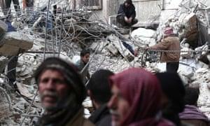 Syrian civilians after air strikes