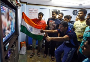 Indian fans react as they watch  in Kolkata.