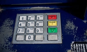 An ATM keypad. Hackers are believed to have infiltrated dozens of banks and even programmed ATMs to dispense money at specific times.
