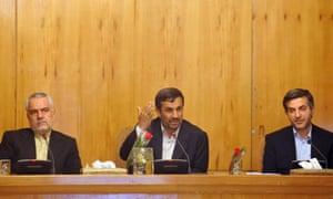 Iranian President Mahmoud Ahmadinejad (c) and Vice-President Mohammad Reza Rahimi (L) in a cabinet meeting, in Tehran, Iran, in 2011.
