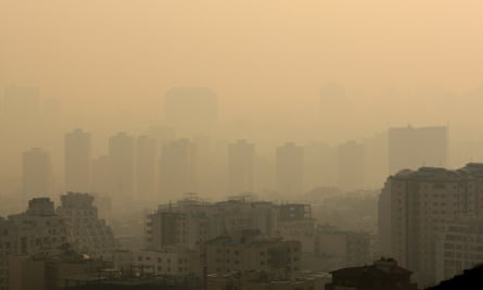 Rooftops are seen, shrouded in polluted air in Tehran, Iran.
