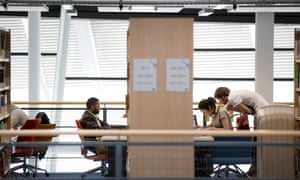 Students work in the library at University or East London