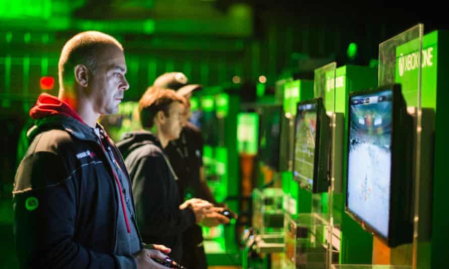 Man playing Xbox