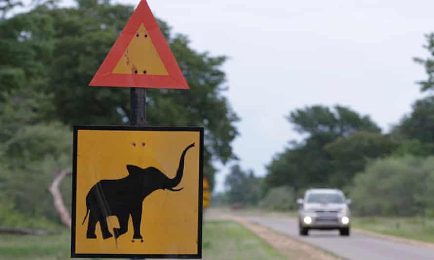 A signpost warns motorists of elephants outside Hwange national park, Zimbabwe