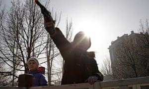 A boy with a toy gun in Donetsk, eastern Ukraine