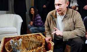 Vladimir Putin with a tiger cub presented to him for his birthday in 2008.