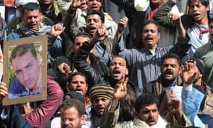 Egyptians protest what they characterise as government inaction in reaction to the kidnapping of Copts in Libya.