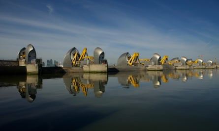 The Thames Barrier controls flood waters and surge tides to prevent flooding in central London and other areas upstream.