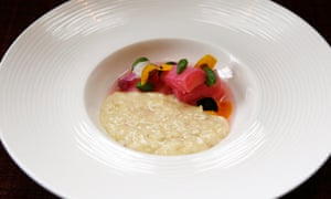 Pearl barley pudding, with 'pieces of rhubarb the colour of children's sweets'.