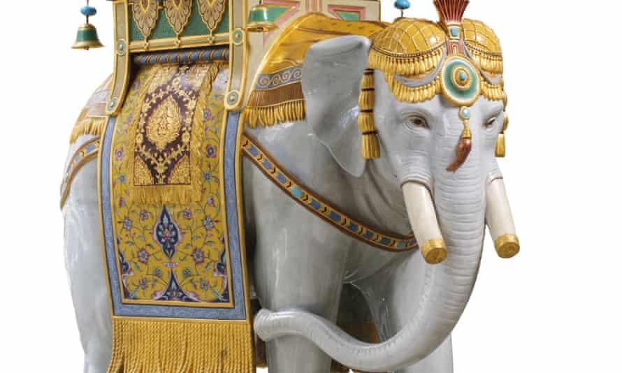 The Minton majolica elephant.