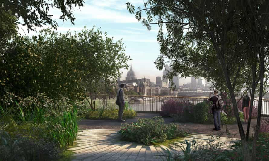 An artist's impression showing a view from the proposed London Garden Bridge