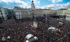 Podemos supporters gathered in Puerta del Sol square in Madrid